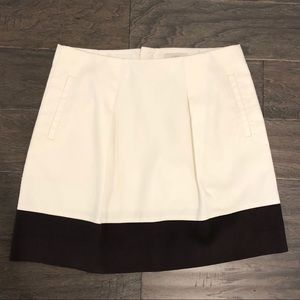 💙 J Crew Cream & Brown Pleated Colorblock Skirt 6